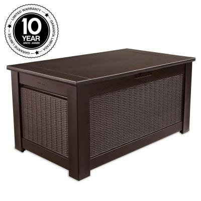 Rubbermaid, 93 Gal. Bridgeport Resin Storage Bench Deck Box Weather Resistant (Bench Outdoor Rubbermaid)
