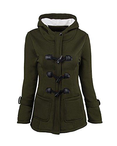 Donna Casual Giacca Cappotto Con Cappuccio Giacche Abbottonato Parka Invernale Outwear Verde