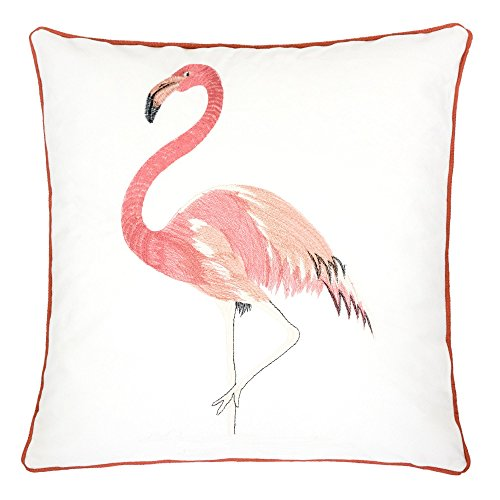 Homey Cozy Embroidery White Velvet Flamingo Throw Pillow Cover,Passionate Spring Series Pink Coral Flamingo Tropical Decorative Pillow Case Home Decor 20x20,Cover Only (Flamingo Coral)