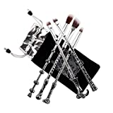 Makeup Brush,harry potter Magic Wand Brush Gift Set 5 Pieces Nice Hair Bristle Fancy Look, Silver Black Ithyes