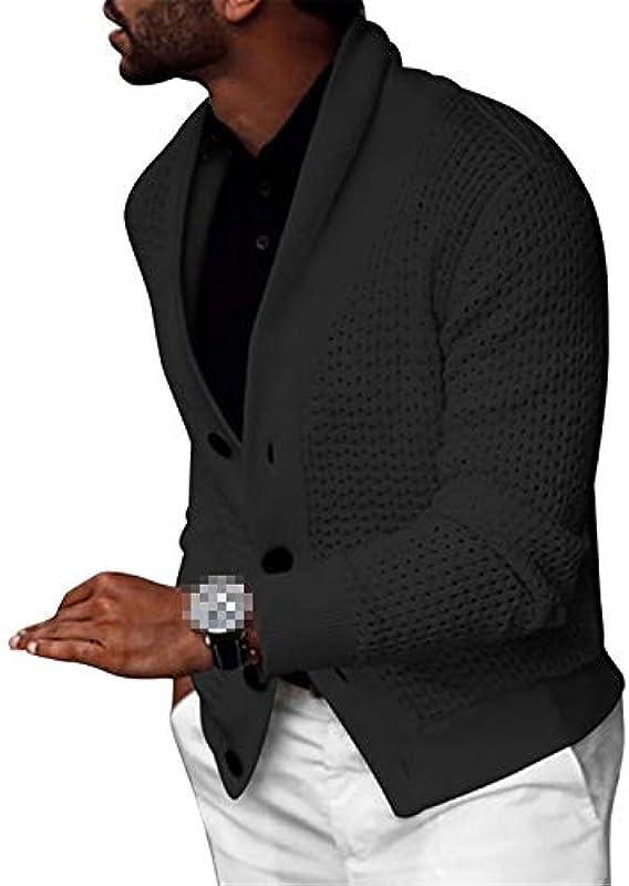 Autumn Fashion Męskie Solid Color Cardigan Langarm Loose Cardigan Large Size Mantel Button Top: Odzież