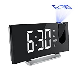 Mpow 5 Projection Alarm Clock, FM Radio Alarm Clock with Dual Alarm, Digital Clock with 3 Dimmer Display for Bedroom, Ceiling, USB Charging Port, Backup Battery for Setting (Black-White)