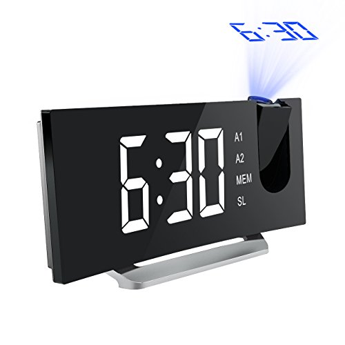 Case Clock (Mpow Projection Clock, FM Radio Alarm Clock, Curved-Screen Digital Alarm Clock, 5'' LED Display with Dimmer, Dual Alarm with USB Charging Port, 12/24 Hours, Backup Battery in Case of Power Failure)