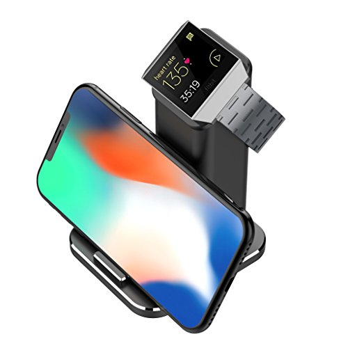 XUNMEJ For Fitbit Ionic Charger, Fitbit Ionic Accessories Charging Station Charging Stand Cradle Holder for Fitbit Ionic Watch, Universal Smart Phones, iPhone X/ 8/7/ 6 Samsung, Black by XUNMEJ