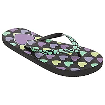 FLOSO Girls Heart Print Flip Flops With Heart Printed Strap (UK Size: UK Shoe 9-10, EUR 27-28 (smallest)) (Black)