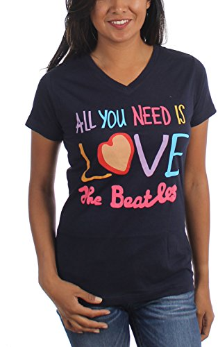 The Beatles - Womens All You Need Is Love V-Neck T-Shirt, Size: Medium, Color: Navy (Beatles The Tshirt Womens)