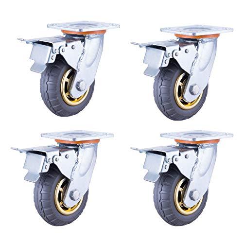 押入れ収納 高温耐性ナイロン旋回キャスターの4パックブレーキキャスターと4本のスティック工業プロキャスター方向性キャスター (Quantity : 4 sticks d, Size : 4in(100mm))