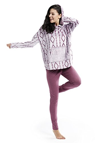 Ink+Ivy Womens Hooded Pajama & Loungewear Frosted Scooped Top With Soft Cotton Modal Legging 2pc Set Fig Large