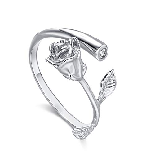 Lateefah Rose Flower Women Girls Rings Gold Plated with Cubic Zirconia Ajustable Rose Flower Open Ring for Female, Best Gift for Valentine Mothers Day Birthday