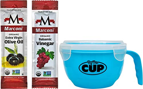 (Marconi Organic Extra Virgin Olive Oil and Balsamic Vinegar Packets 25 of Each with By The Cup Salad)