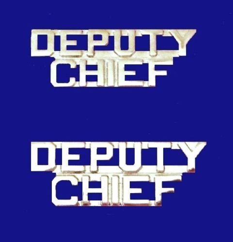 Deputy Chief Collar Pin Set Cut Out Letters Nickel Plate Fire Dept Police P2215 Lapel Pin (Police Dept Patch)