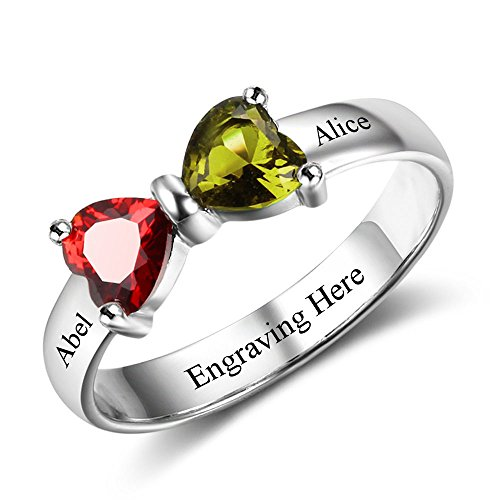 Engravable Round Stones Mothers Ring - Love Jewelry Personalized Engagement Promise Bow Rings for Her Names Engraved Simulated Birthstones Women Wedding Ring (8)