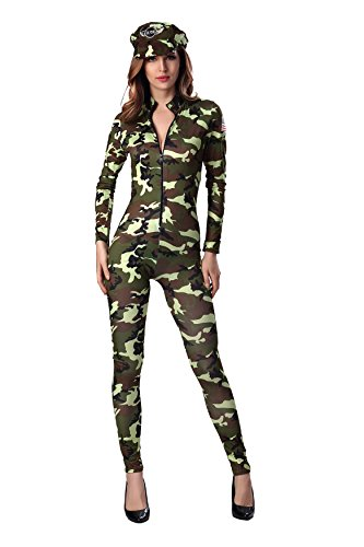 [Dlsave Women Halloween Costume Front Zipper Camouflage Jumpsuit Cosplay Soldier Uniform (Medium)] (Adult Pretty Paratrooper Costumes)