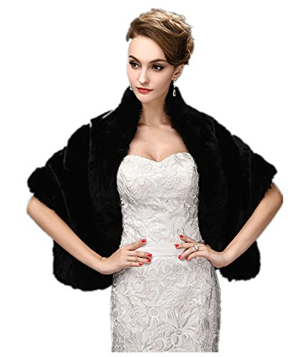 FOLWEP Women's Black Faux Fur Wrap Cape Stole Shawl Shrug for Wedding/Party/Show