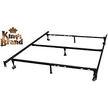 7 leg heavy duty adjustable metal queen size bed frame with center support rug rollers and locking wheel - Bed Frame For Queen Size Bed