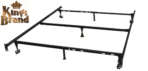 Kings Brand 7-Leg Heavy Duty Adjustable Metal Bed Frame with Center Support Rug Rollers and Locking Wheels QueenFullFull XLTwinTwin XL