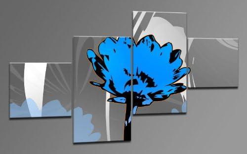 Arte Moderno como Lienzo 4 imágenes Número de Referencia m42418 Summer Flower Blue Modern Art enmarcado sobre auténtico bastidor. Enmarcado como imagen sobre Marco. Menos Que Pintura al óleo Póster Cartel con
