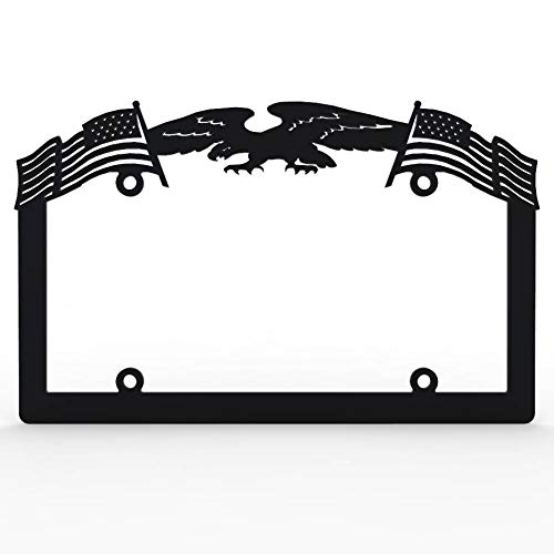 - Ferreus Industries Black Powdercoat Car Truck License Plate Frame Eagle American Flag Eagle - 1 Piece LIC-141-Black