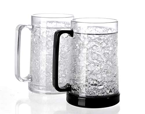 BC Inter Double Wall Gel Frosty Freezer Ice Mugs Clear 16oz Set of 2 (Black and white)
