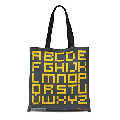 Semtomn Canvas Tote Bag Shoulder Bags Text Yellow Letter Plastic Constructor Alphabet Colorful Block Brick Women's Handle Shoulder Tote Shopper Handbag ()