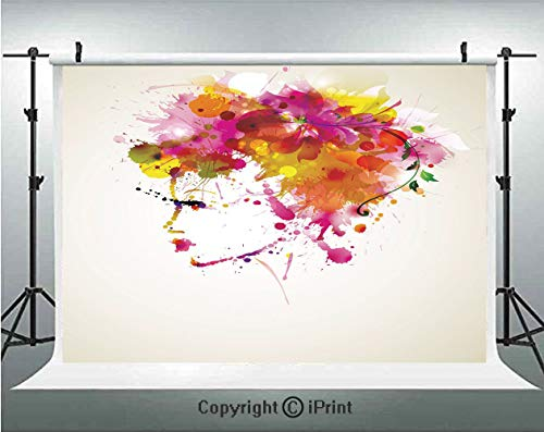 Abstract Photography Backdrops Watercolor Portrait of a Woman with Artsy Floral Hairstyle Paint Splatters Decorative,Birthday Party Background Customized Microfiber Photo Studio Props,8x8ft,Orange Pin -