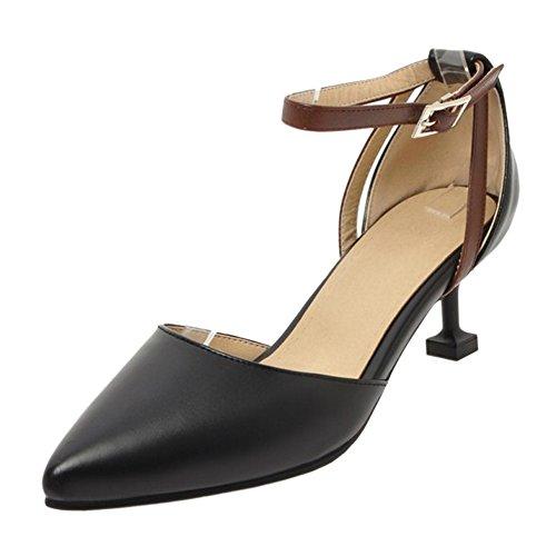 Black de Tobillo Zapatos Correa Mujer Bombas RAZAMAZA zw6qBUR