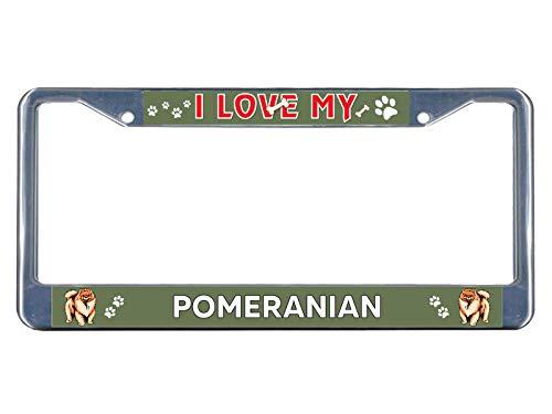 (Pomeranian Dog I Love Chrome Metal License Plate Frame Tag Border Perfect for Men Women Car garadge Decor )