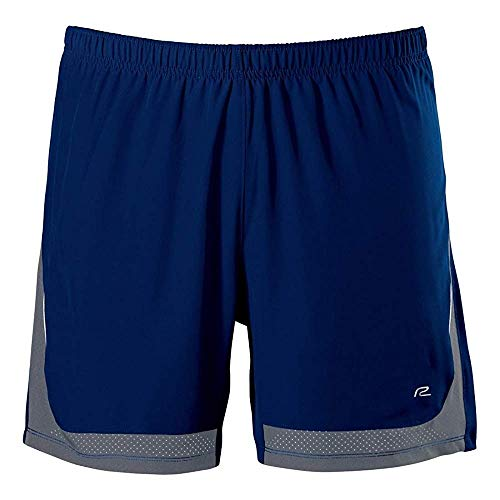 (R-Gear Men's Power Up 2-in-1 Running Workout Shorts, 6-inch Length with Inner Compression Shorts and Multiple Pockets, Midnight Blue/Steel, XL )