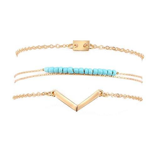 Zealmer Women Girl's Assorted Multiple Color Gold Bracelet Set Turquoise Color Beads Bracelet Charm V Chevron 3 Pieces Pack Set With Paper Card
