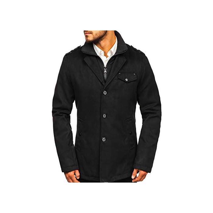 41TikGaZsQL Abrigo de invierno acolchado para los hombres Una hilera de botones, con cierre de botones, el cuello inglés 100% De Poliéster