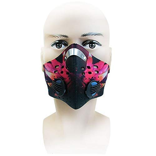 Cycling Sports Running Outdoor Mask Activated Carbon Dustproof Gas PM2.5 Dust Anti Pollution Anti Pollen Allergy Filtration Exhaust Gas Mask Mouse-Muffle Ski Training with 2 Valves 2 N99 Filters