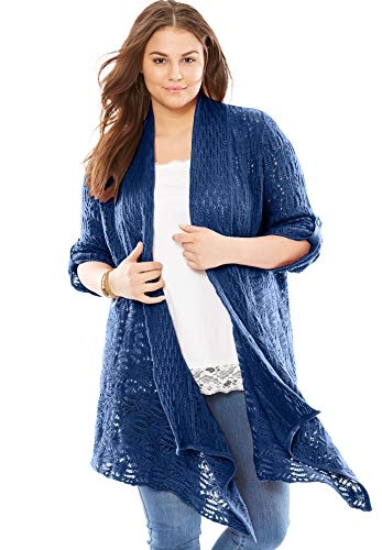 - Woman Within Women's Plus Size Open Front Pointelle Cardigan - Evening Blue, M