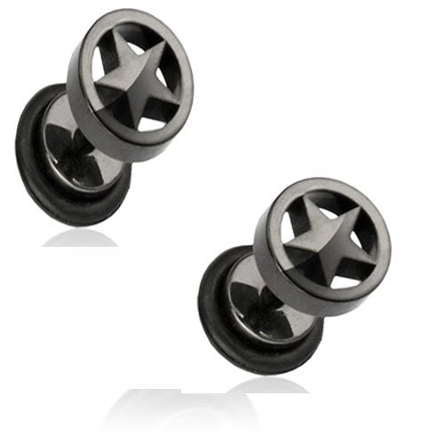 Black Titanium Anodized IP Over Surgical Steel Fake Plug with Star Loop Top H71