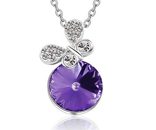 New Women Purple Crystal Rhinestone Butterfly Silver Chain Pendant Necklace пјЃпјЃпјЃ