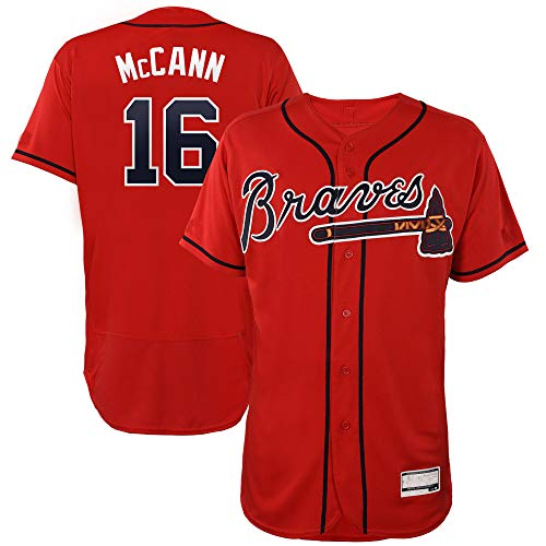 Men's/Women's/Youth Brian_McCann_#16_Braves Player Atlanta Game Jersey XL Scarlet ()