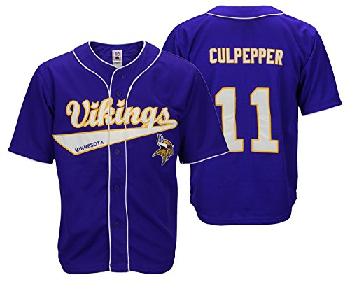 - Minnesota Vikings NFL Retro Baseball Style Jersey Daunte Culpepper, Purple (Small)