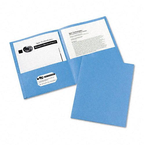 Avery : Two-Pocket Portfolio, Embossed Paper, 30-Sheet Capacity, Light Blue, 25 per Box -:- Sold as 2 Packs of - 25 - / - Total of 50 Each ()
