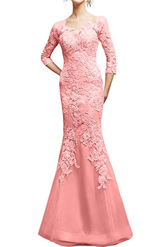 Abendkleider Braut Schmaler 2019 Rosa Marie Ballkleider Pfirsisch Damen La Figurbetont Partykleider Schnitt Spitze 54wqHX4x0