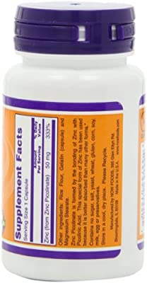 Now Zinc Picolinate 50mg, 60 Capsules (Pack of 3)