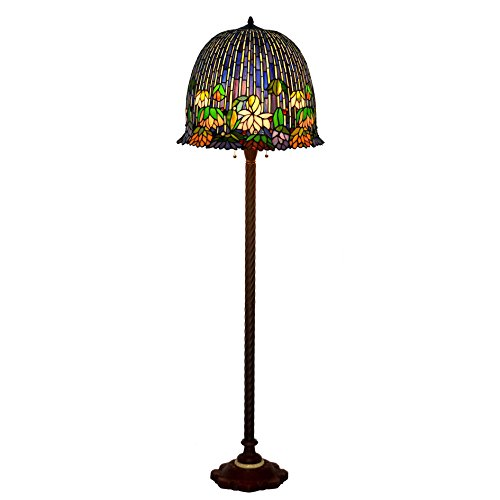 Bieye L10631 18 inch Water-lily Tiffany Style Stained Glass Floor Lamp with Marble Inlaid Metal (Inlaid Marble)