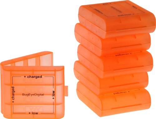 - B.E.D. (6 Pack) AA / AAA Fluorescent Orange 4 Cell Battery Case with Charge Reminder Markings