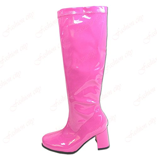 Pink Go Shoes Stretchy Block Go UK Patent New Size Thigh Heels High Hot 8 3 Women's Ladies Boots EUwnWTvq