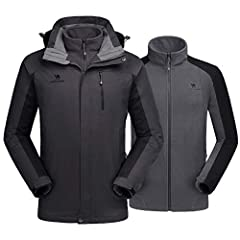 SKI JACKET FOR MEN - YOUR BEST CHOICE FOR OUTDOOR! We've used more professional waterproof technology to our 2018 new rain coat. Elastic cuffs keep the wind out. Windproof and adjustable hood can be adjusted to get the right fit and protectio...