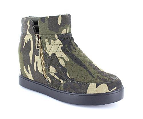 Urban Heels Women's Camo Casual Quilted Side Zip Sneaker 7.5 US