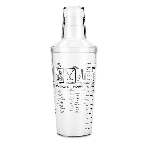 Case Insulated Cocktail (Plastic Cocktail Shaker, Maraca Recipe Unique Clear Insulated Shaker Cocktail (Sold by Case, Pack of 12))