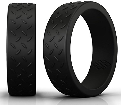 (Designer Silicone Wedding Ring Band for Men – Size 12 Checkerplate 8mm Rubber Rings - Premium Quality, Style, Safety, Comfort - Ideal Bands for Gym, Safe for Work, Hunting, Sports, and Travels)