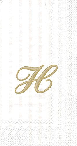 (Ideal Home Range 16 Count 3-Ply Letter H Monogram Guest Towels, White/Gold)
