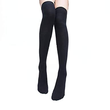 77a26546a88 Women Girl Over Knee High Socks Sexy Thigh High Cotton Stockings Boot Socks  (Black)  Amazon.co.uk  Clothing