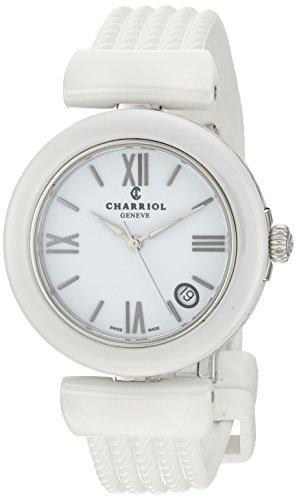Charriol Women's 'Ael' Swiss Quartz Ceramic and Rubber Dress Watch, Color:White (Model: AE33CW.174.004)