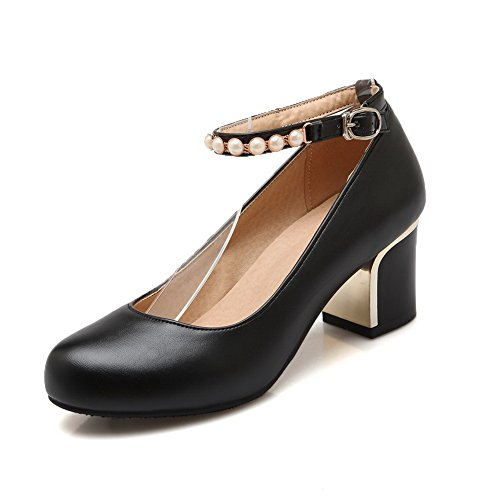 Balamasa Mujeres Electroplate Heel Bead Tobillo Cuff Imitated Leather Pumps-Zapatos Black